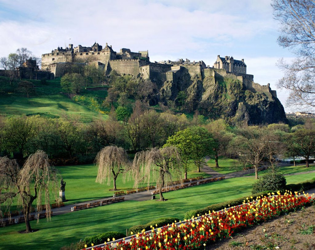 Stock Photo: 1609-16332 Edinburgh Castle / Flowers / Tulips in Foreground, Edinburgh, Scotland