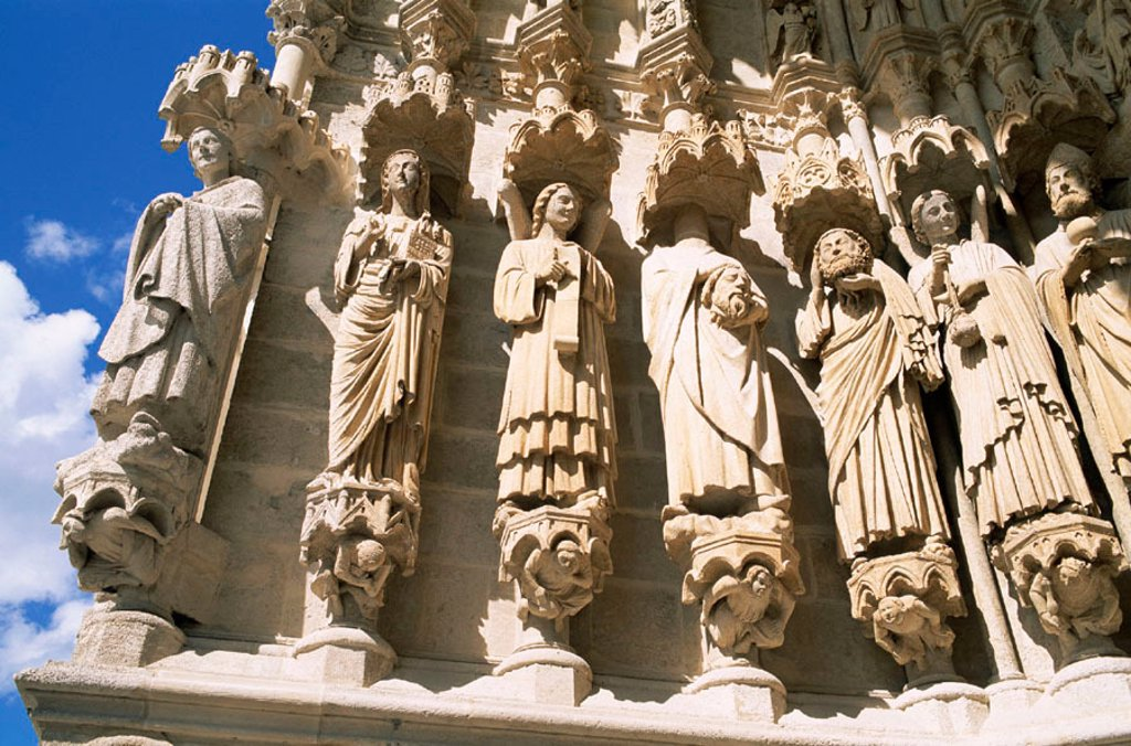 Stock Photo: 1609-16947 France, Somme, Amiens, Amiens Cathedral, Sculpture Details of the Saint Firmin Portal