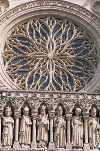 France, Somme, Amiens, Amiens Cathedral, Detail of the Kings Gallery Sculptures : Stock Photo