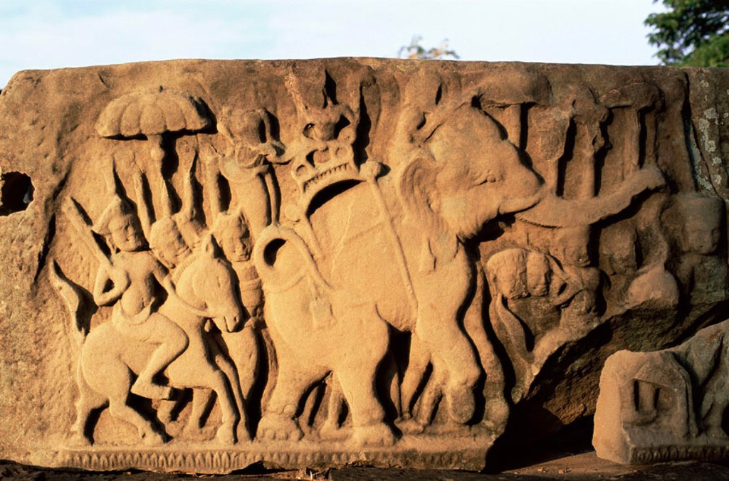 Stock Photo: 1609-17369 Thailand, Khorat, Phimai, Elephant Relief at Phimai Historical Park