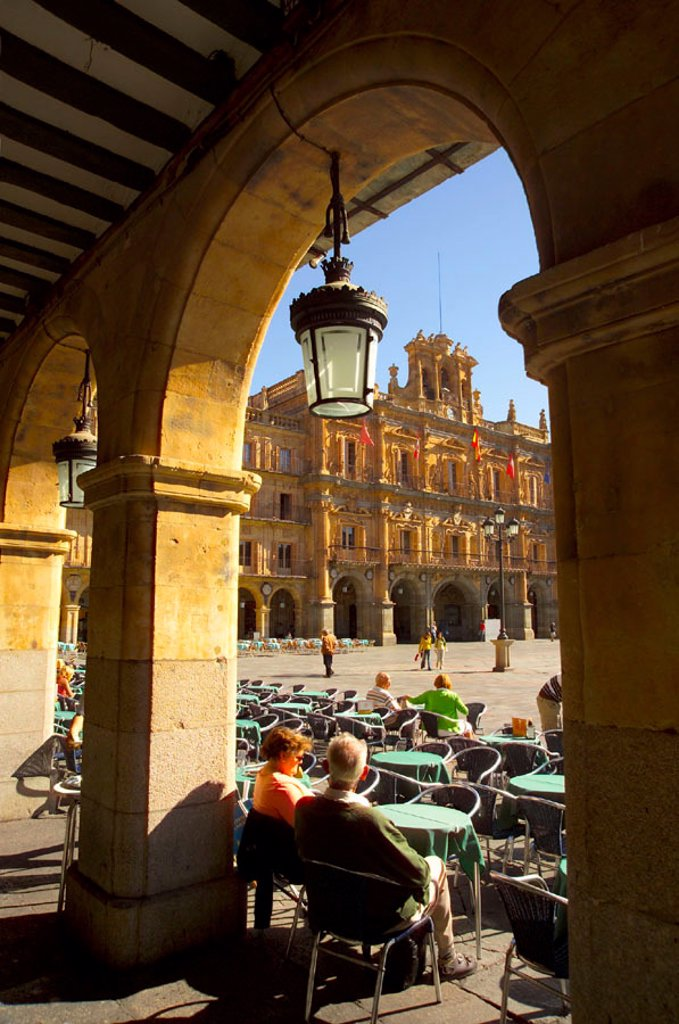 Stock Photo: 1609-17989 Plaza Mayor, Salamanca, Castilla y Leon, Spain