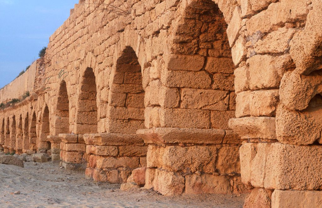 Stock Photo: 1609-18384 Roman Aqueduct, Caesarea, Israel