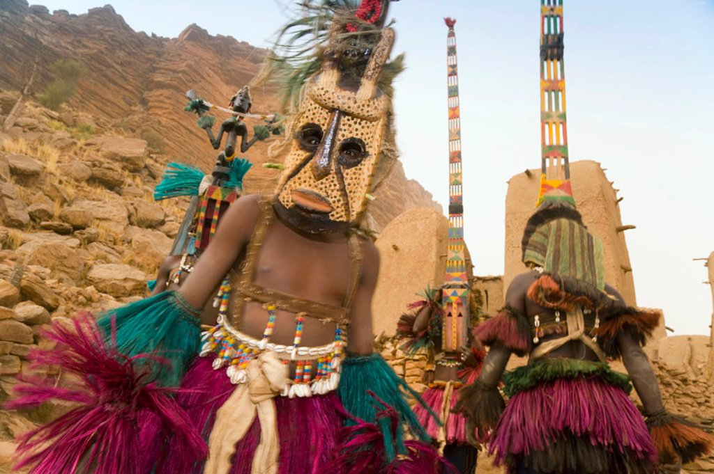 Masked Ceremonial Dogon Dancers, Sangha, Dogon Country, Mali : Stock Photo