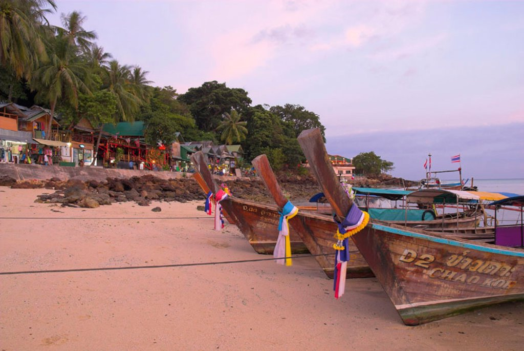 Stock Photo: 1609-19245 Traditional longtail boats, Ao Ton Sai (Ton Sai Bay), Ko Phi Phi, Thailand