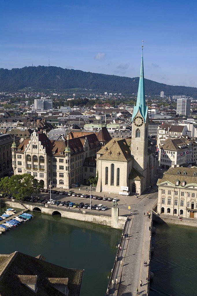 City Skyline & River Limmat, Zurich, Switzerland : Stock Photo