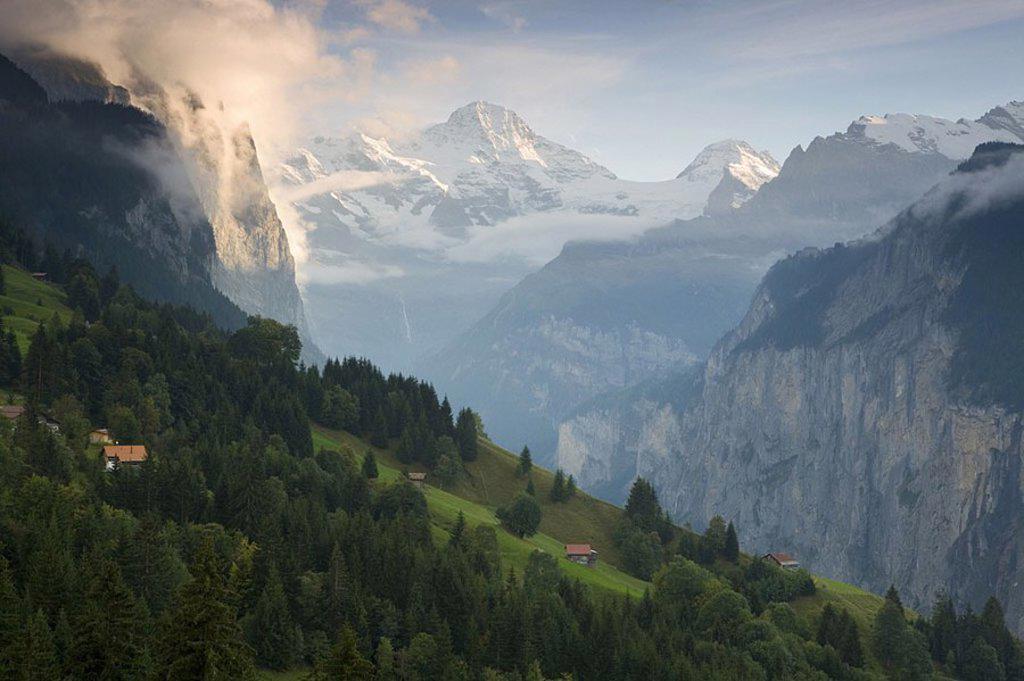 Wengen & Lauterbrunnen Valley, Berner Oberland, Switzerland : Stock Photo