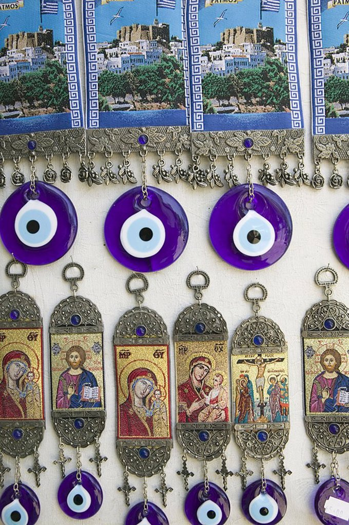Souvenirs and Evil Eyes, Monastery of St  John the Theologian, Hora, Patmos, Greece. Souvenirs and Evil Eyes, Monastery of St John the Theologian, Hora, Patmos, Greece : Stock Photo
