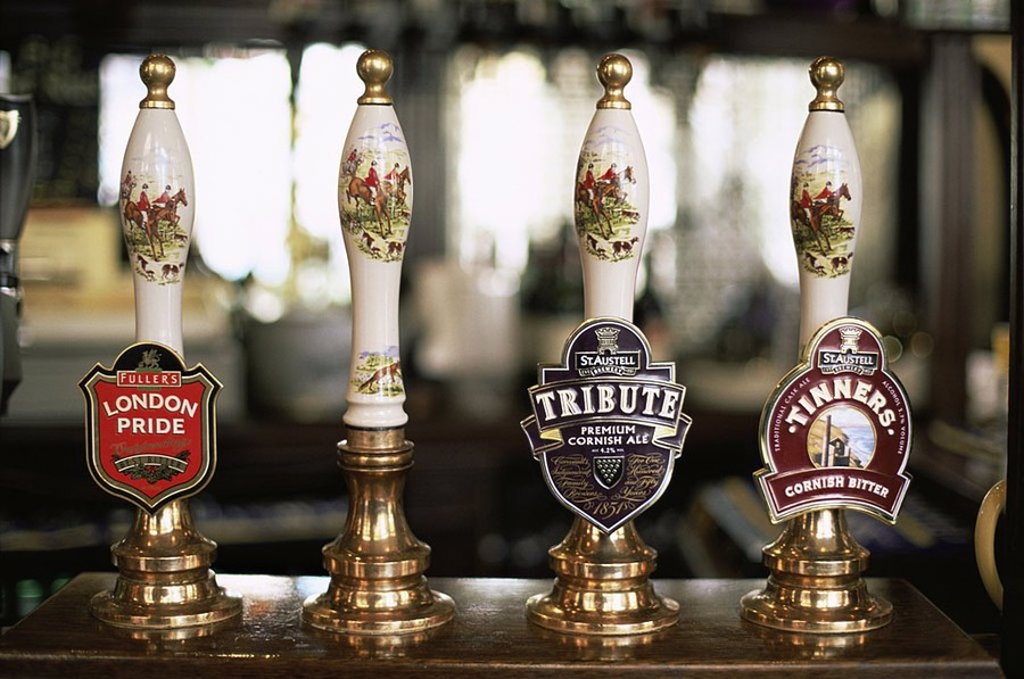 June 2006. England,London,Typical Pub Beer Pump Handles : Stock Photo