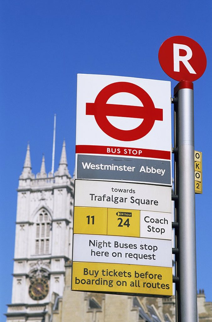 Stock Photo: 1609-21988 July 2006. England, London, Bus Stop Sign Near Westminster Abbey