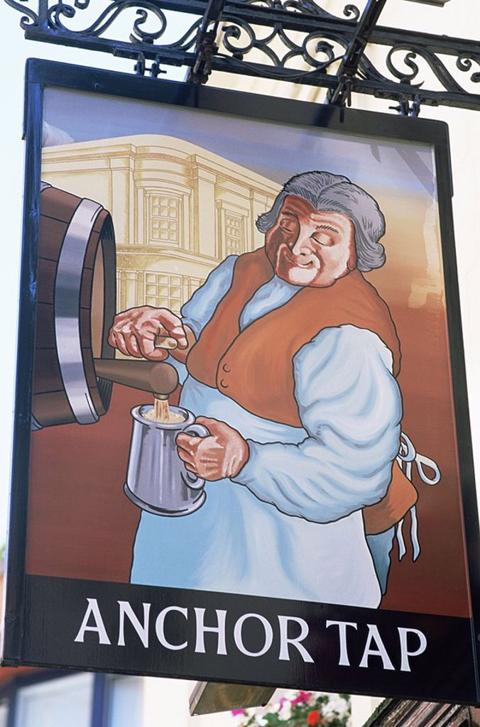 Stock Photo: 1609-22011 July 2006. England, London, Anchor Tap Pub Sign