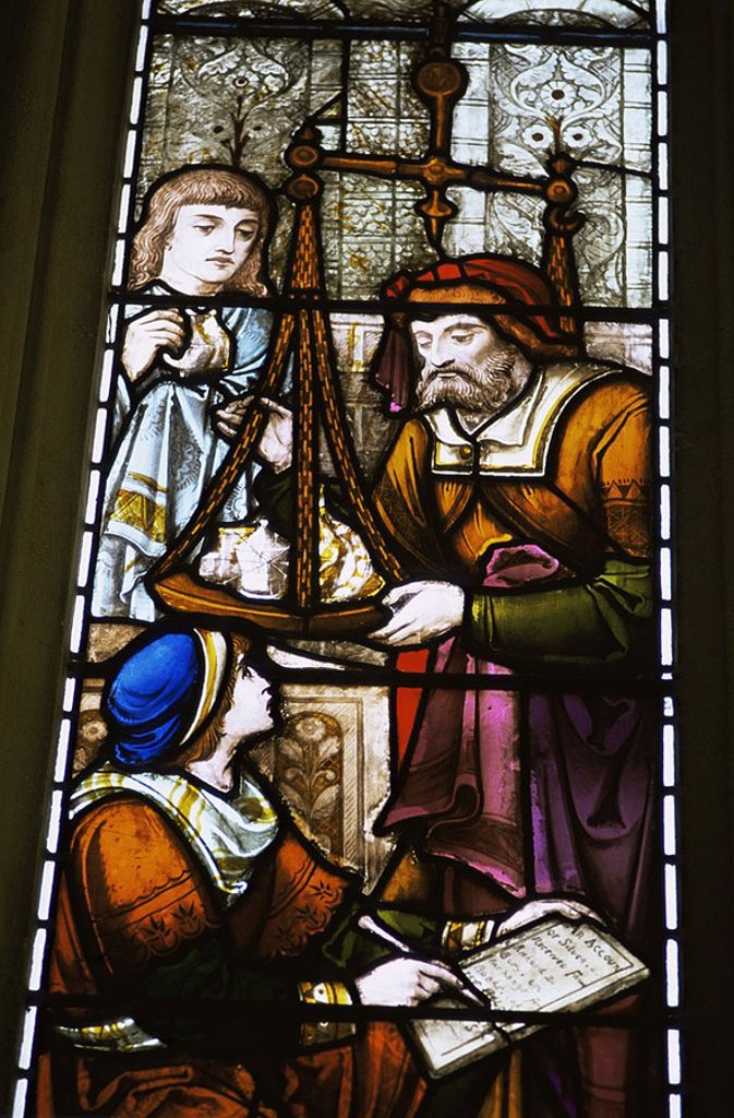 August 2006. England, London, The City, Guildhall, Stained Glass Windows Depicting the Weighing of Silver : Stock Photo