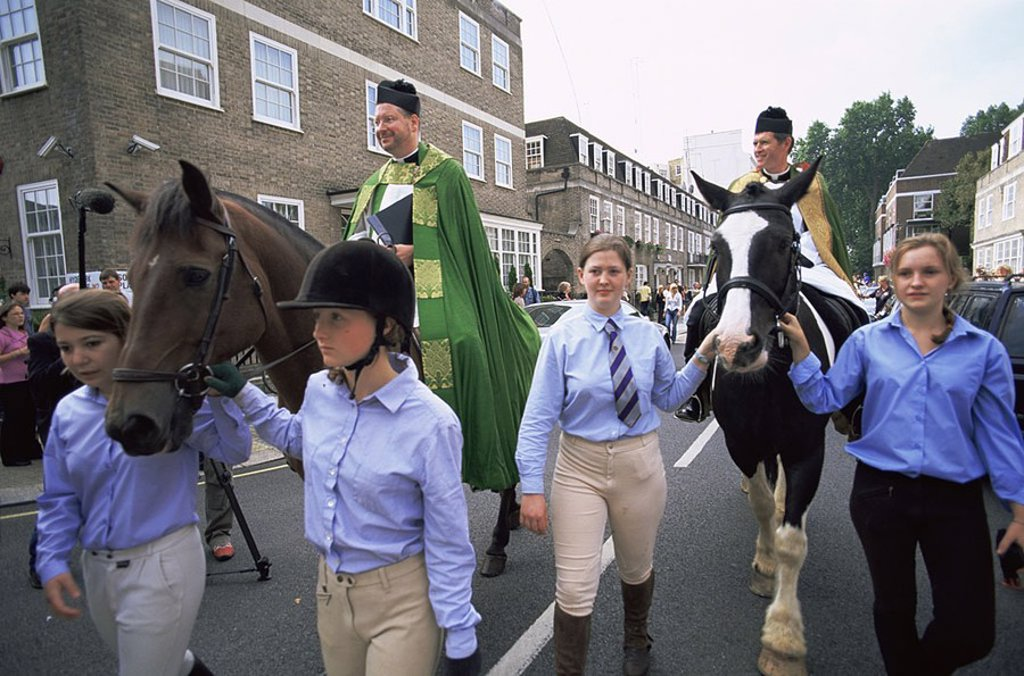 Stock Photo: 1609-22137 August 2006. England, London, Hyde Park, St Johns Church, Blessing of the Horses Festival