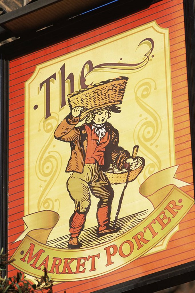 Stock Photo: 1609-22182 August 2006. England, London, The Market Porter Pub Sign at Borough Market