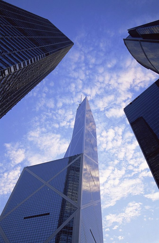 China, Hong Kong, Central, Bank of China and Modern Buildings : Stock Photo