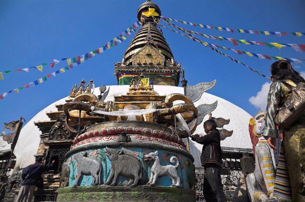Stock Photo: 1609-23321 Nepal, Kathmandu, Swayambunath Buddhist Stupa Monkey Temple, giant Dorje