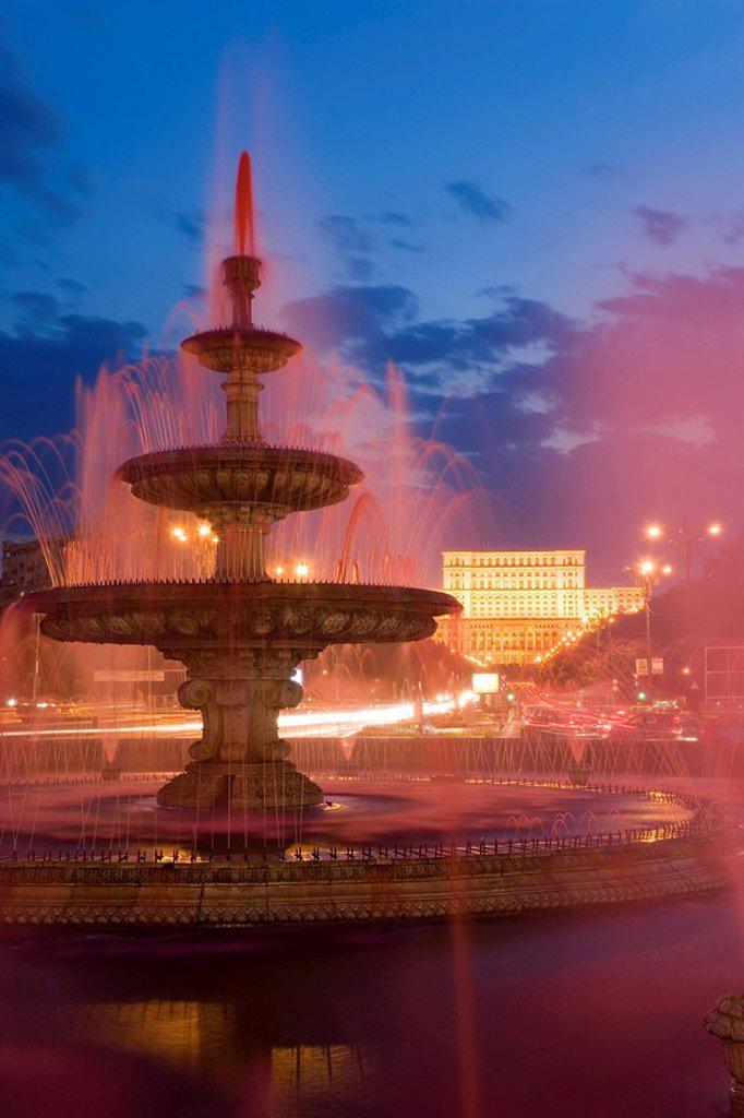 Romania, Bucharest, Piata Unirii, Piata Unirii Fountain & Palace of Parliament : Stock Photo