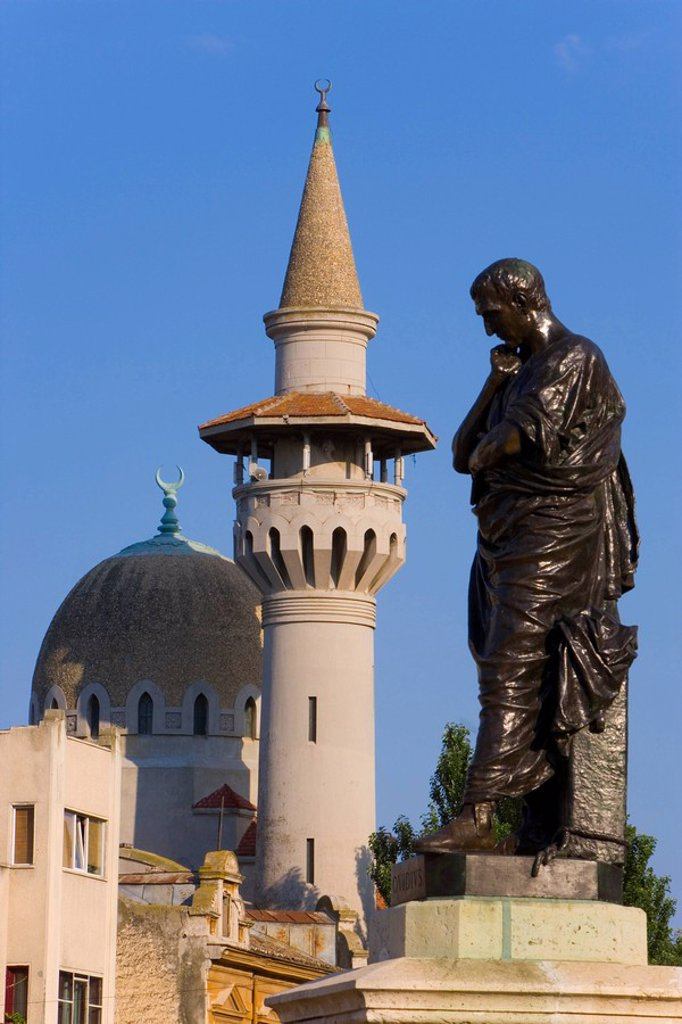 Romania, Black Sea Coast, Constanta, Mahmudiye Mosque and Statue : Stock Photo
