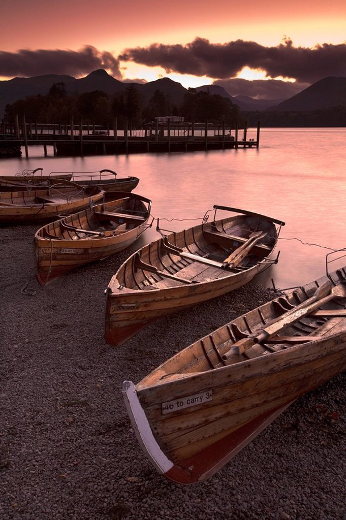 Rowing Boats, Derwent Water, Lake District, Cumbria, England : Stock Photo