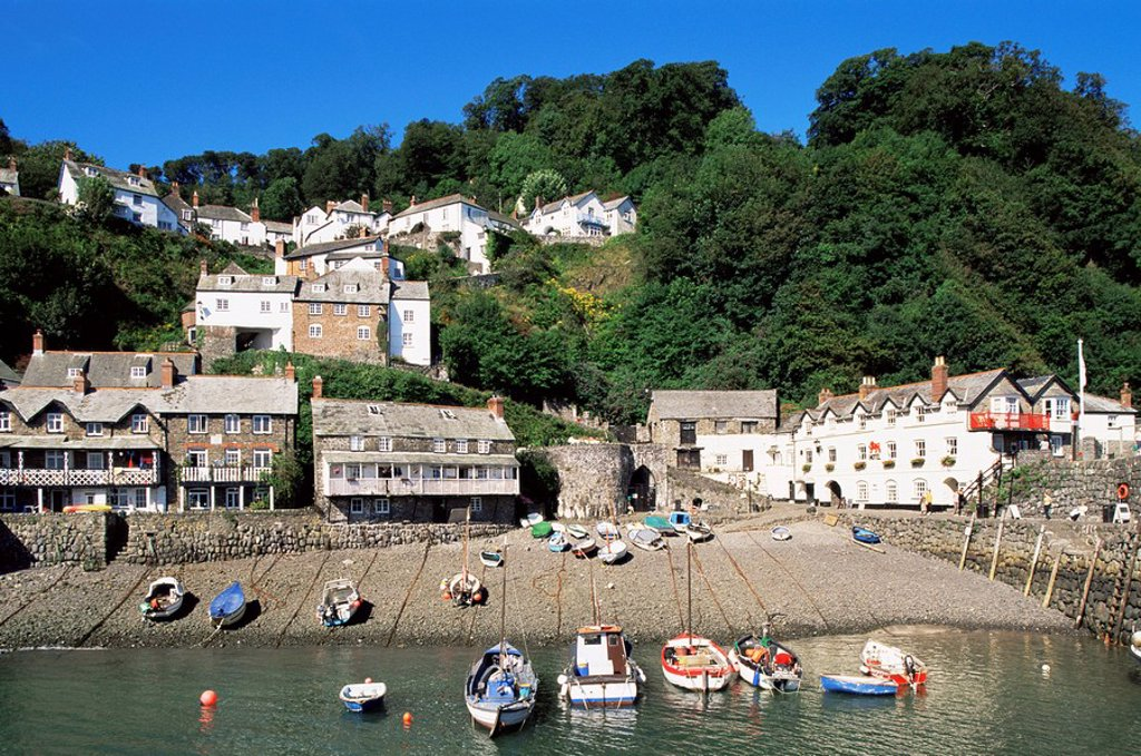 England, Devon, Clovelly, Town View and Beach : Stock Photo