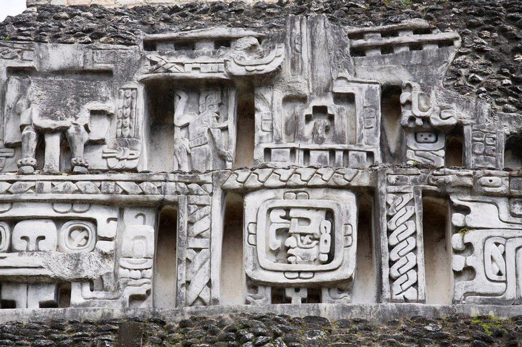 Stock Photo: 1609-24434 Belize, San Ignacio, Xunantunich Ruins, 130ft high El Castillo, Frieze