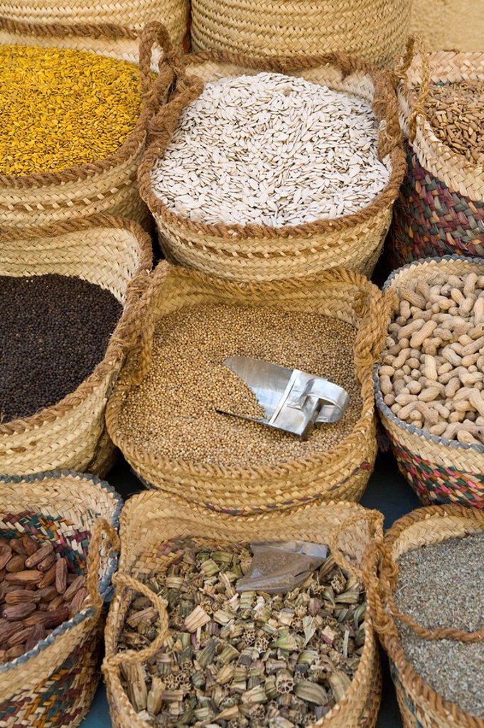 Stock Photo: 1609-24885 Spices, nuts and pulses at local market, Aswan, Egypt