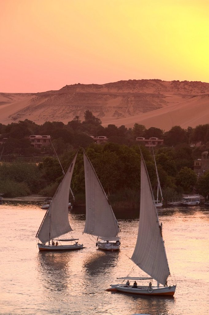 Stock Photo: 1609-24901 Feluccas on River Nile, Aswan, Egypt