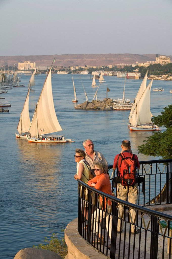Feluccas, River Nile, Aswan, Egypt : Stock Photo