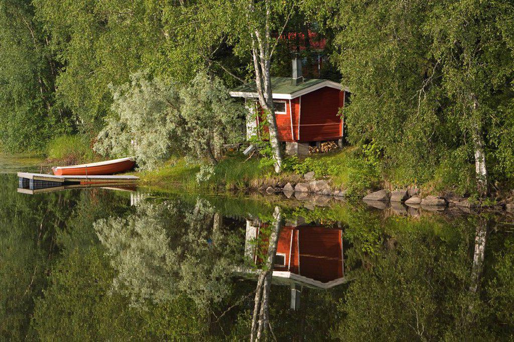 Sauna & Lake Reflections, Lapland, Finland : Stock Photo