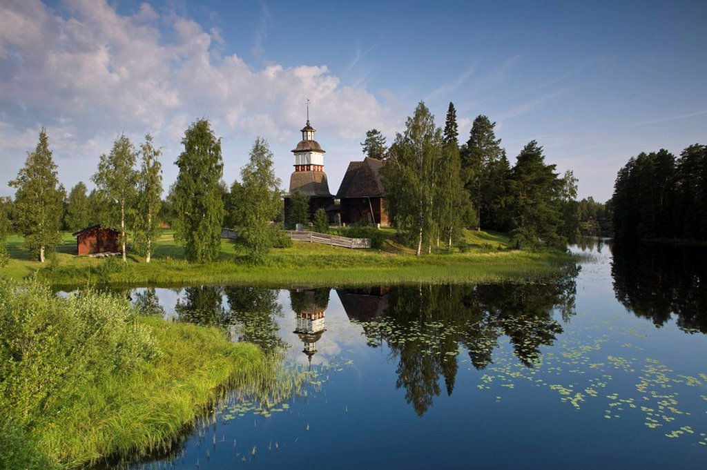 Stock Photo: 1609-25045 UNESCO Old Wooden Church, Petajavesi, near Jyvaskyla, The Lakeland, Finland