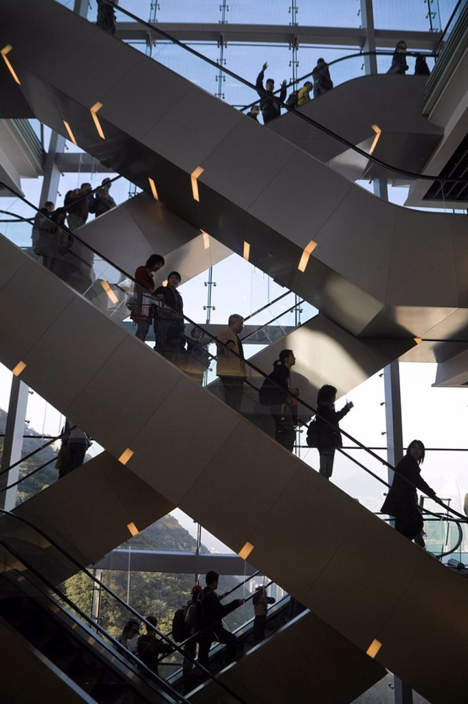 Stock Photo: 1609-25114 China, Hong Kong, Hong Kong Island, Victoria Peak, People on Peak Tower escalators
