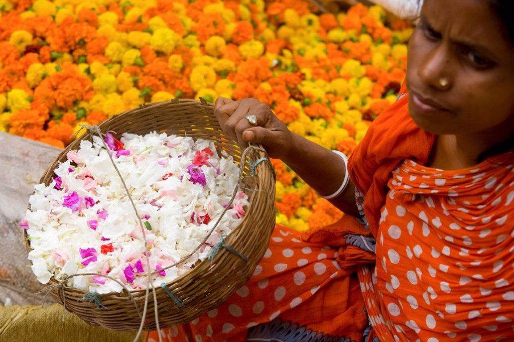 Stock Photo: 1609-25186 Flower Market, Calcutta, West Bengal, India