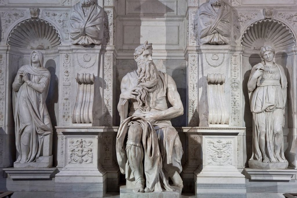 Stock Photo: 1609-25237 Michelangelo´s Moses inside San Pietro in Vincoli Church, Rome, Italy