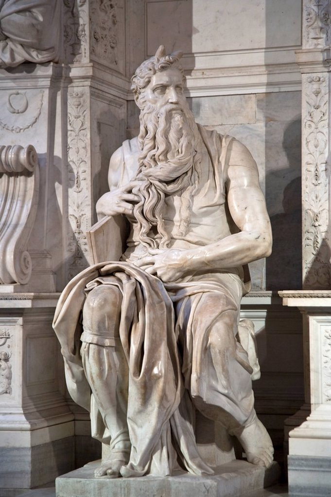 Stock Photo: 1609-25238 Michelangelo´s Moses inside San Pietro in Vincoli Church, Rome, Italy