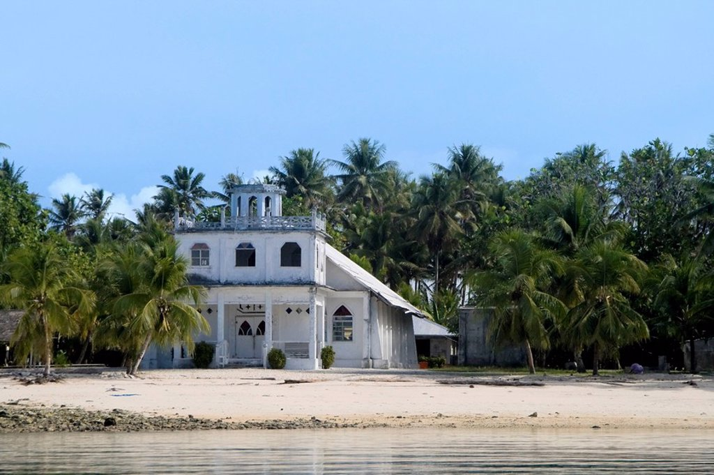 Stock Photo: 1609-25413 Protestant Church, Jaluit Atoll, Marshall Islands