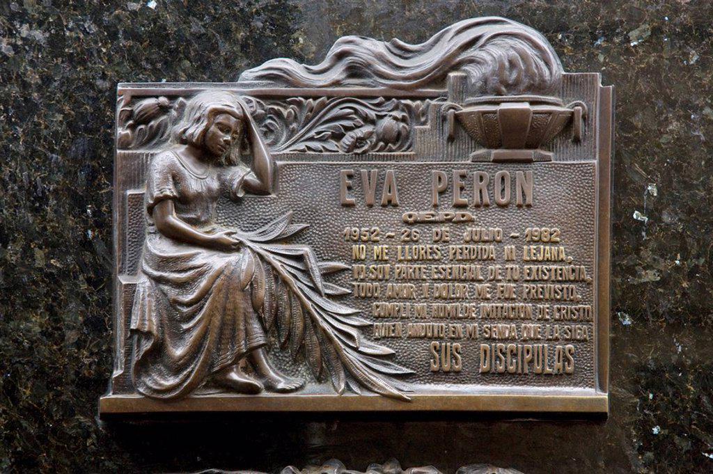 Stock Photo: 1609-26974 Evita Peron, Duarte family tomb, Cementerio de Recoleta, Buenos Aires, Argentina