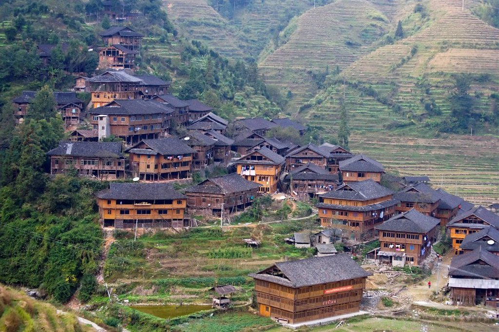 Yao Village of Dazhai, Longsheng, Guangxi Province, China : Stock Photo
