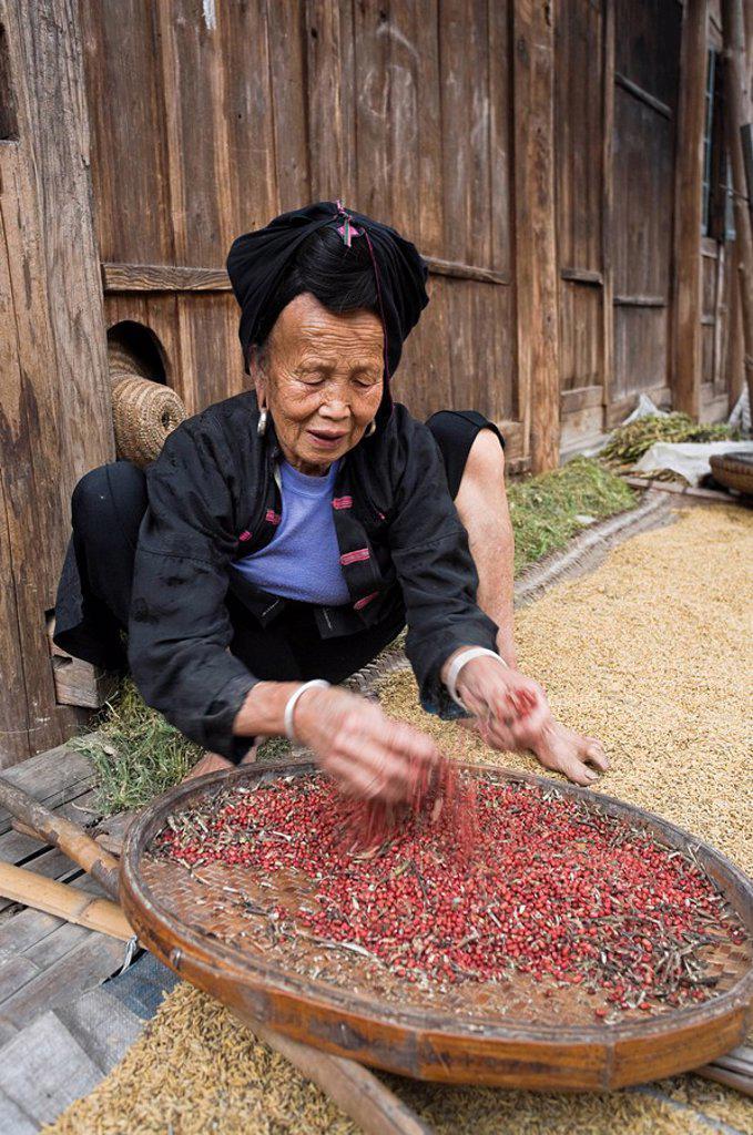 Yao Village of Dazhai, Longsheng, Guangxi Province, China : Stock Photo