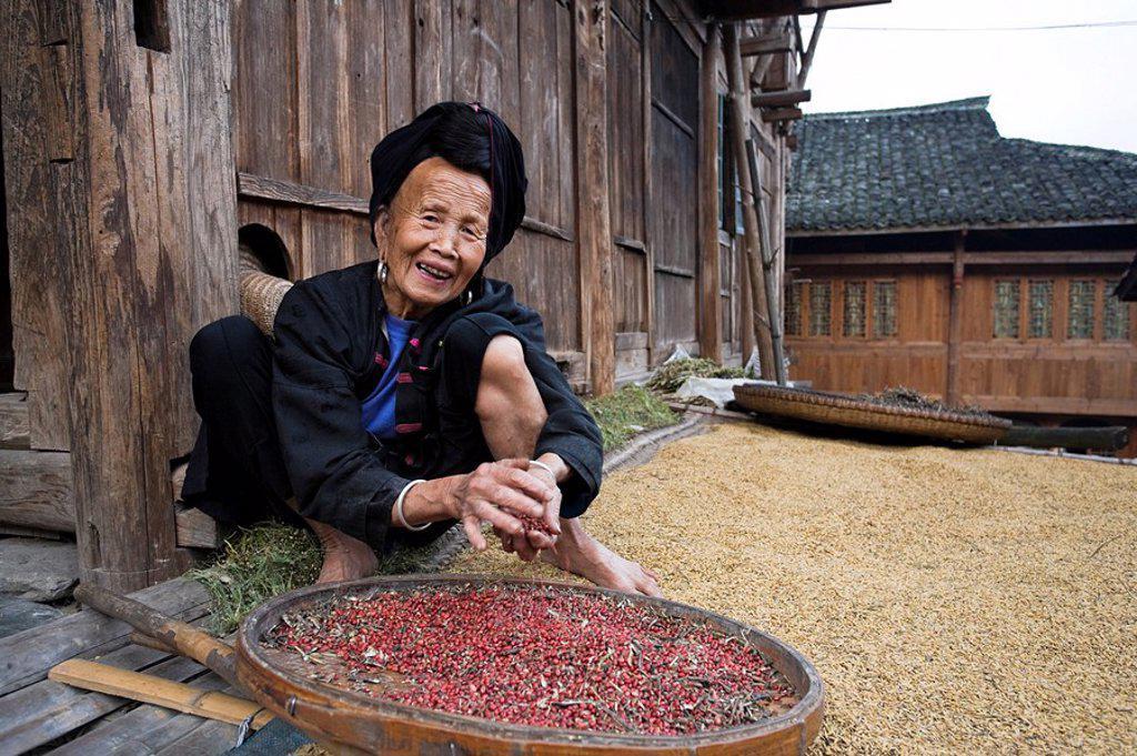 Stock Photo: 1609-27589 Yao Village of Dazhai, Longsheng, Guangxi Province, China