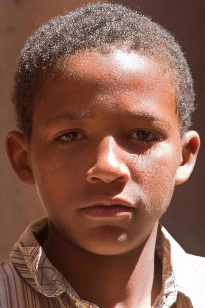Morocco, Zagora, Amazrou, Old Jewish kasbah ´La Kasbah des Juifs´, Local boy : Stock Photo