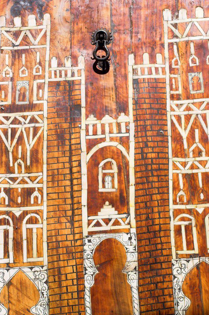 Morocco Zagora, Amazrou, Old Jewish kasbah ´La Kasbah des Juifs´Door : Stock Photo