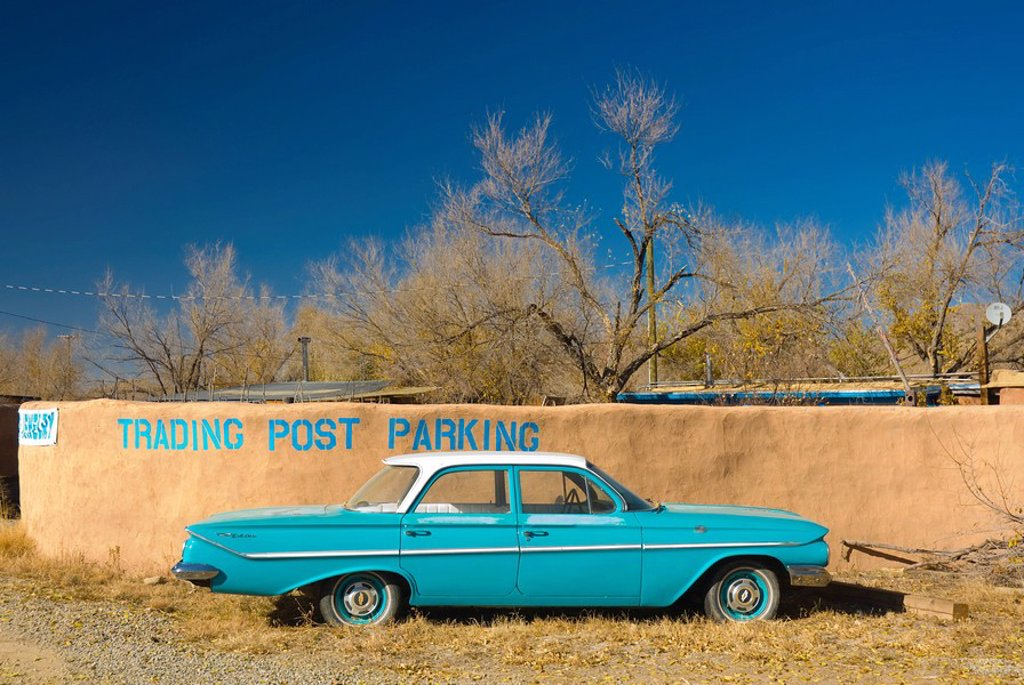 Stock Photo: 1609-28019 USA, New Mexico, Turquoise Trail, Trading Post and 1961 Chevrolet Bel Air 4_door sedan
