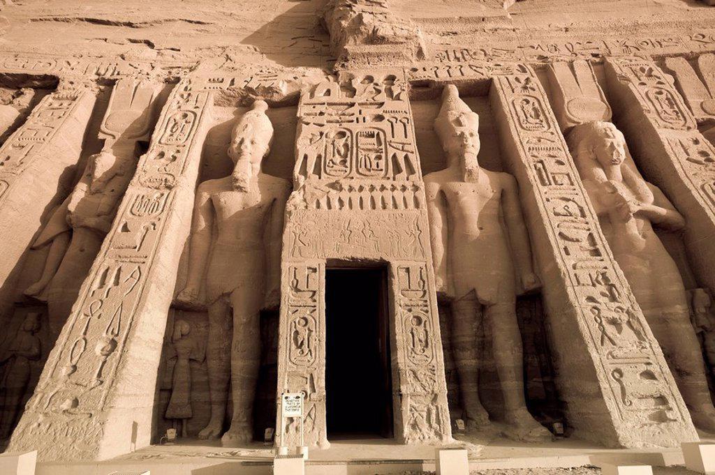 Egypt, Abu Simbel, Temple of Nefertari and Hathor : Stock Photo