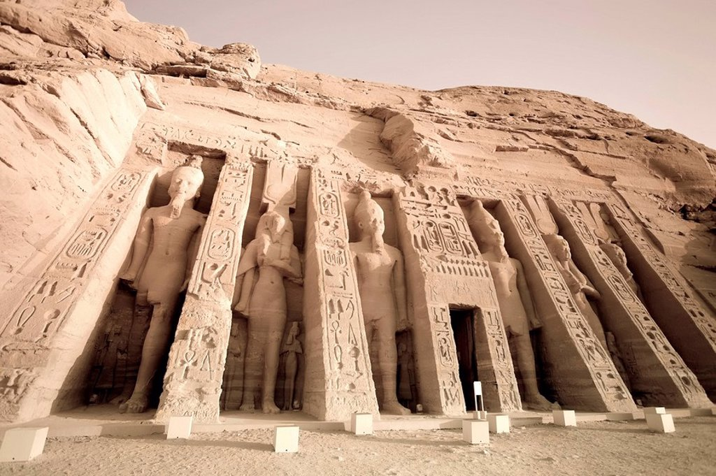 Stock Photo: 1609-33026 Egypt, Abu Simbel, Temple of Nefertari and Hathor