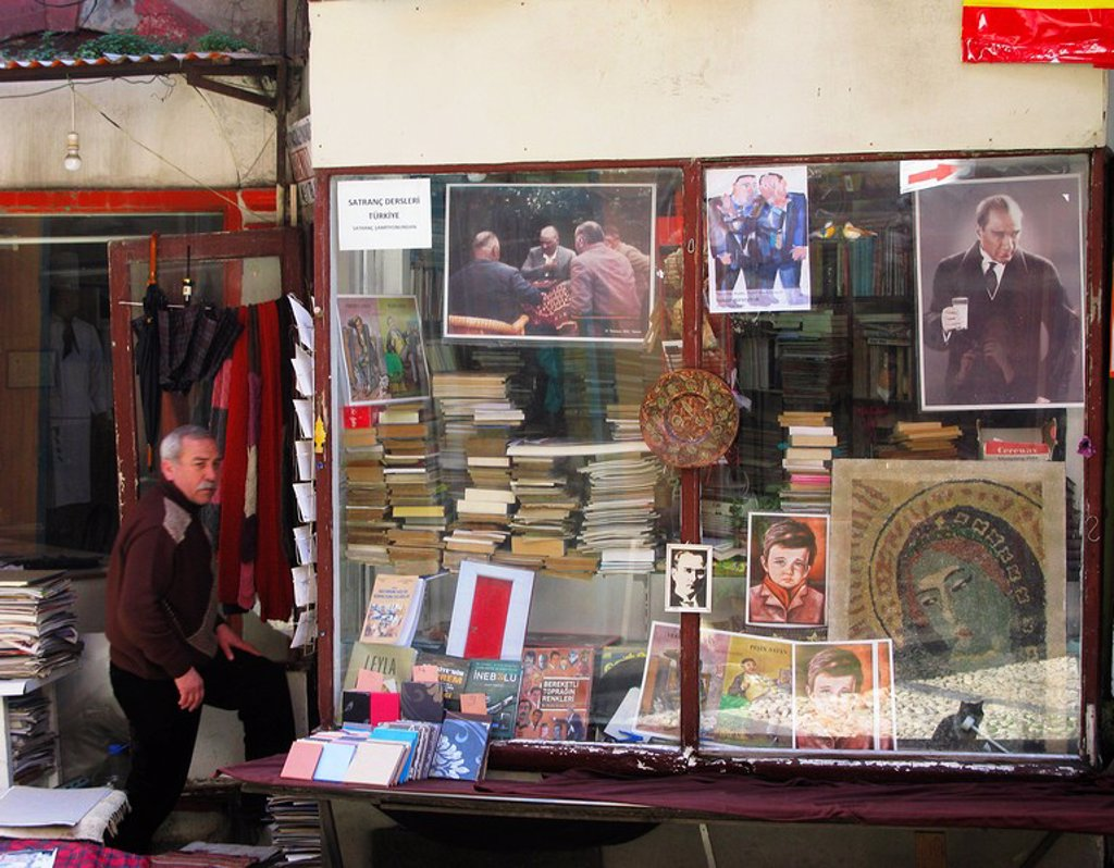 Stock Photo: 1609-33157 Bookshop, off Istiklal Caddesi Street, Beyoglu District, Istanbul, Turkey