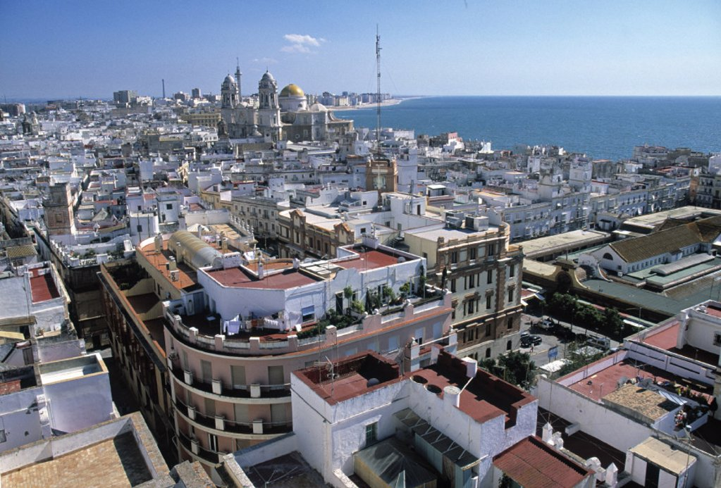 Stock Photo: 1609-3323 View over Cadiz, Costa del la Luz, Spain