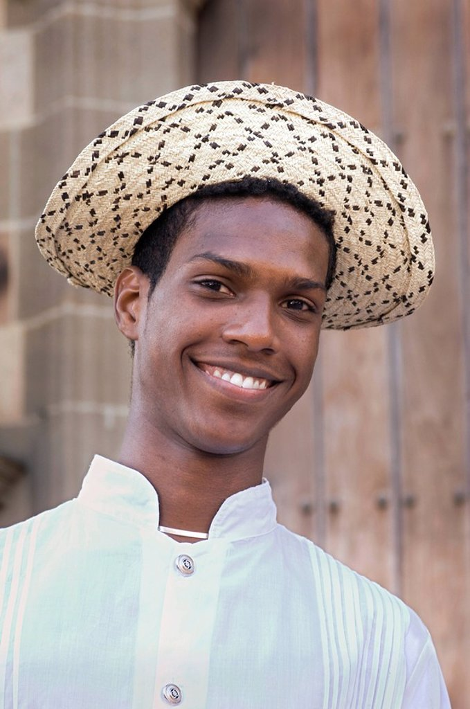 Stock Photo: 1609-33341 Panama, Panama City, Casco Viejo Neighborhood, Straw Montuno Hat and Embroidered Shirt, National Costume of Panama