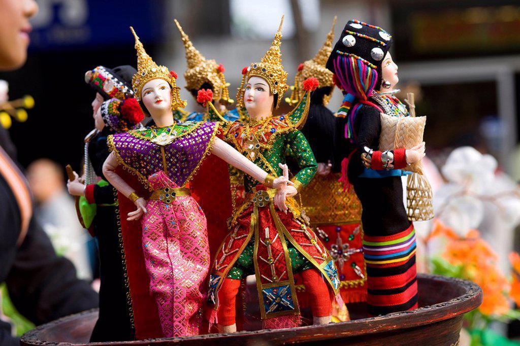 Stock Photo: 1609-33396 Thailand, Golden Triangle, Chiang Mai, Souvenir Dolls