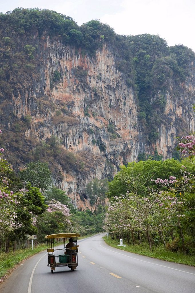 Thailand, Phuket, Krabi, Road and Karst Cliff : Stock Photo