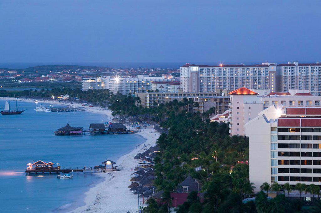 High Rise Resort Area, Palm Beach, Aruba, Caribbean : Stock Photo