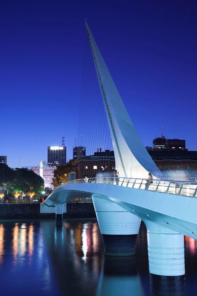 Stock Photo: 1609-33623 Argentina, Buenos Aires, Puerto Madero, Puente de la Mujer bridge, dusk